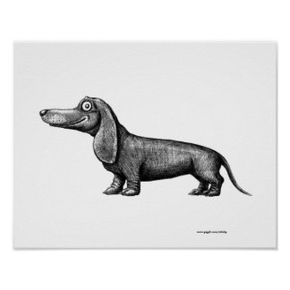 Funny cute dachshund ink pen drawing art poster