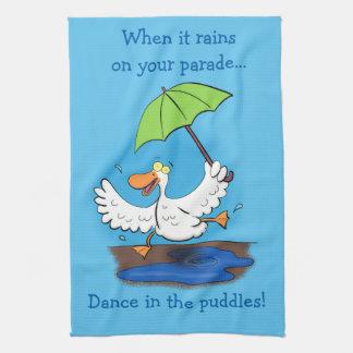 Funny cute dancing duck cartoon kitchen towel