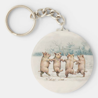 Funny Cute Dancing Pigs - Anthropomorphic Vintage Basic Round Button Keychain