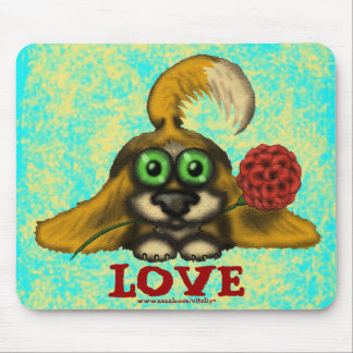 Funny cute dog with flower mousepad design