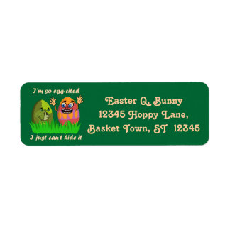 Funny Cute Easter Eggs Cartoon Return Address Label