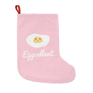 Funny Cute Egg Eggcellent Humorous Food Pun Fun Small Christmas Stocking