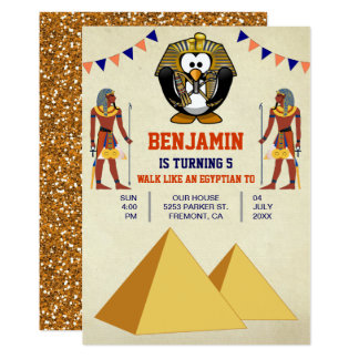 Funny Cute Egyptian Penguin Kids Birthday Party Card