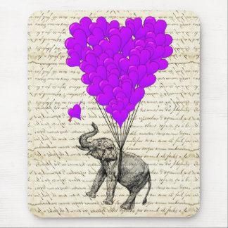 Funny cute elephant and heart balloons mouse pad