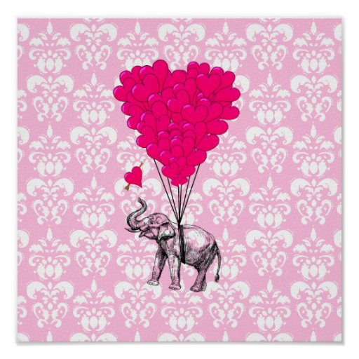 Funny cute elephant & pink damask poster