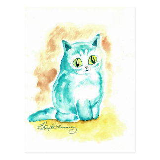 Funny Cute fat Blue Cat Postcard