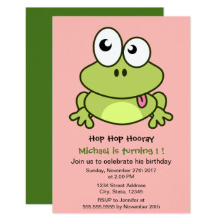 "Funny cute frog cartoon kids birthday party 3.5"" x 5"" invitation card"