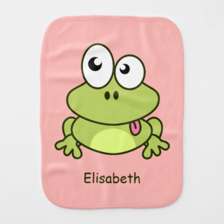 Funny cute frog cartoon name baby baby burp cloth