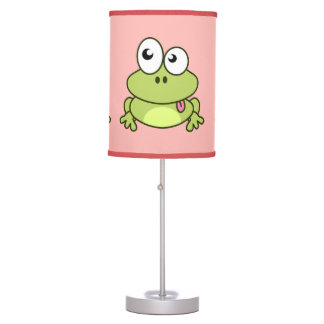 Funny cute frog cartoon pink kids table lamp