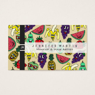 Funny Cute Fruit Illustrations Pattern Business Card