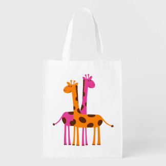 Funny Cute Giraffes, pink orange black gifts Reusable Grocery Bag