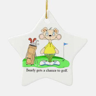 Funny cute golf bear ornament