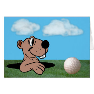Funny, Cute Gopher & Golf Ball Father's Day Card