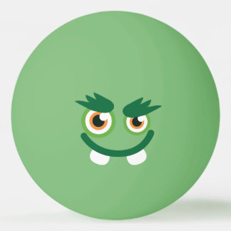 Funny  Cute Green Monster. Ping Pong Ball
