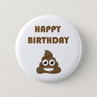 Funny Cute Happy Birthday Party Poop Emoji 2 Inch Round Button