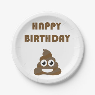 Funny Cute Happy Birthday Party Poop Emoji Paper Plate