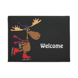 Funny Cute Ice Skating Moose Cartoon Doormat