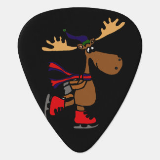 Funny Cute Ice Skating Moose Cartoon Guitar Pick