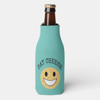 funny cute joke say cheese bottle cooler