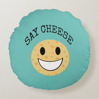funny cute joke say cheese round pillow