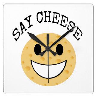funny cute joke say cheese square wall clock
