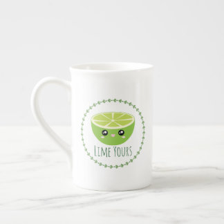 Funny Cute Kawaii Lime Yours I'm Yours Fruit Pun Tea Cup