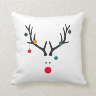 Funny cute minimalist reindeer on white throw pillow