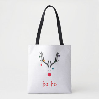 Funny cute minimalist Santa's reindeer on white Tote Bag