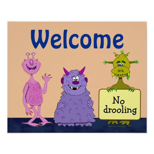 Funny Cute Monsters Welcome Back to School Kids Print