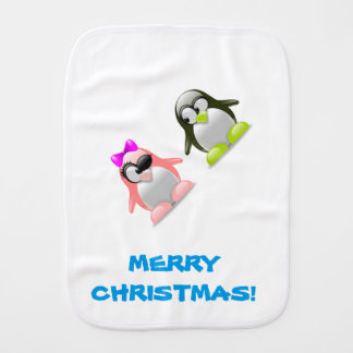 Funny Cute Penguin Couple Burp Cloth