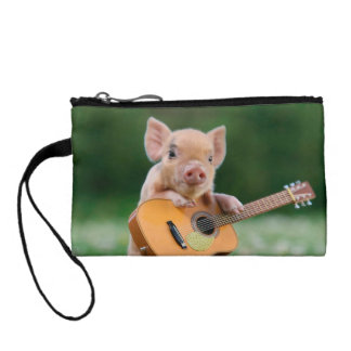 Funny Cute Pig Playing Guitar Change Purses