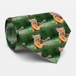 Funny Cute Pig Playing Guitar Tie