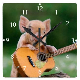 Funny Cute Pig Playing Guitar Wall Clocks