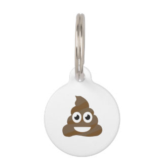 Funny Cute Poop Emoji Pet Name Tag