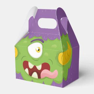 Funny cute purple green cartoon monster wedding favor box