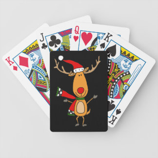 Funny Cute Rudolph Red-Nosed Reindeer Bicycle Playing Cards