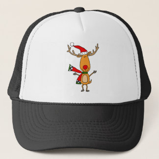Funny Cute Rudolph Red-Nosed Reindeer Trucker Hat