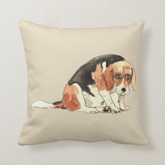 Funny Cute Sad Beagle Watercolour Dog Art Design Throw Pillow
