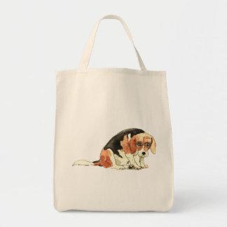 Funny Cute Sad Beagle Watercolour Dog Art Design Tote Bag