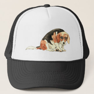 Funny Cute Sad Beagle Watercolour Dog Art Design Trucker Hat