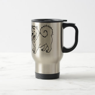 Funny Cute Samoyed Husky Dog Art Travel Mug