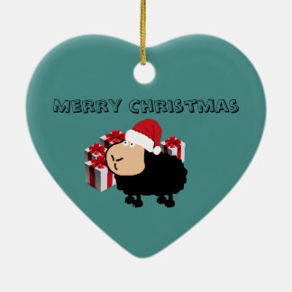 Funny cute Santa cartoon sheep Christmas Ceramic Ornament