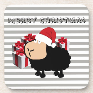 Funny cute Santa cartoon sheep Christmas Coaster