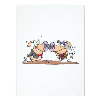 """funny cute silly wedding pigs bride groom 6.5"""" x 8.75"""" invitation card"""