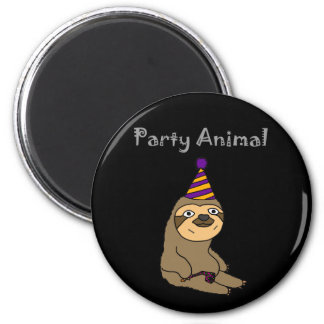 Funny Cute Sloth Party Animal Magnet