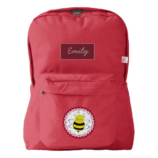 Funny Cute trendy girly cartoon bee personalized Backpack