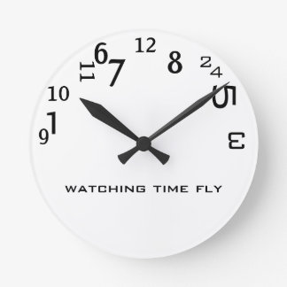 Funny Cute Watching Time Fly Round Clock
