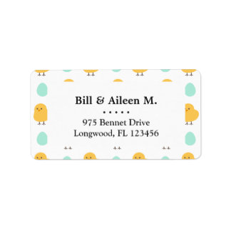 Funny cute yellow chick egg easter illustration label