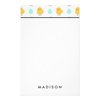 Funny cute yellow chick egg easter illustration stationery