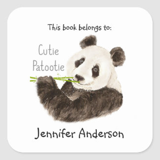 Funny Cutie Patootie Panda Bear   Bookplate Square Sticker